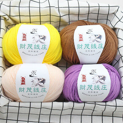 Sale Skein 50g 4ply Baby Combed milk cotton hand knitting Crochet Yarn 34 Colors