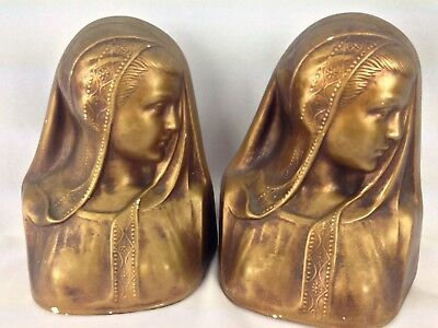 Vintage Pair of Lady Bust Bookends Bronze Color Painted Ceramic Chalk