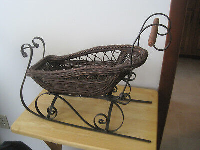 Wicker Sleigh With Wood Handle & Metal. Christmas. For Santa Or Dolls