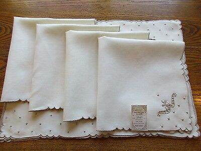 Set of 4 LEACOCK Hand Embroidery Ivory Linen Place mats & Napkins NWT Portugal