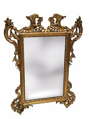 Attractive French Antique Rococo Style Gilt Wood Hand Carved Mirror