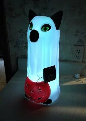 Black Cat KITTEN Ghost Pumpkin Color Changing LED Blow Mold Halloween Lighted