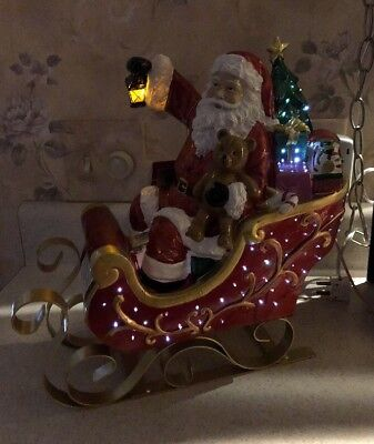 "12"" Tabletop Fiber Optic Color Changing Santa Claus on Sleigh Christmas Sleigh"