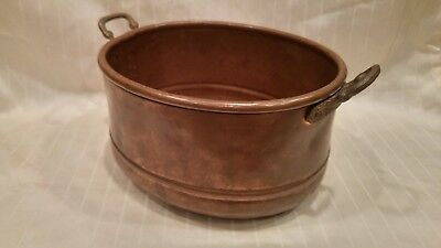Vintage Solid Hammered Copper pot,  cast handles with dovetail seams.