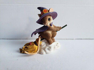 Charming Tails Wishing You a Happy Halloween Flying on a Broom Enesco