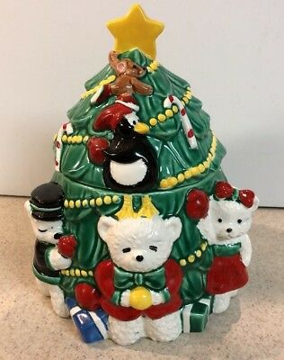 RARE VTG HAND-PAINTED CHRISTMAS TREE COOKIE JAR-with CANDY-CANE-JAPAN