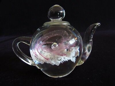 Clear Glass Small Kettle Figurine w/ Pink and White Design with Bubbles.