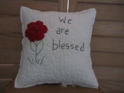 Primitive Quilted pillow-vintage crocheted red rose-stitched -We are blessed