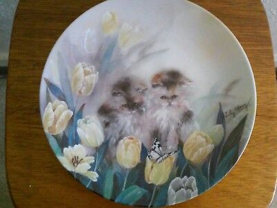 """W S George """"Springtime Oasis"""" by Lily Chang Petal Pals Cat Collector Plate"""