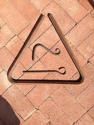 Vintage Steel Triangle Cowboy Chuckwagon Dinner Chow Bell and Clanger