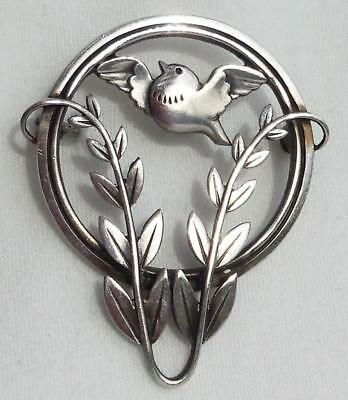 Vtg GEORG JENSEN Denmark Sterling Silver DOVE & OLIVE BRANCH Pin/ Brooch