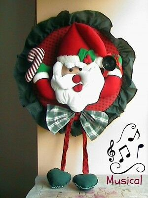 Musical Santa, Christmas wreath,with  motion sensor and light up nose