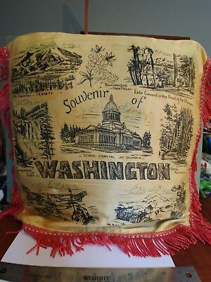 Vintage satin pillow cover souvenir of WASHINGTON about 15 by 15 inch