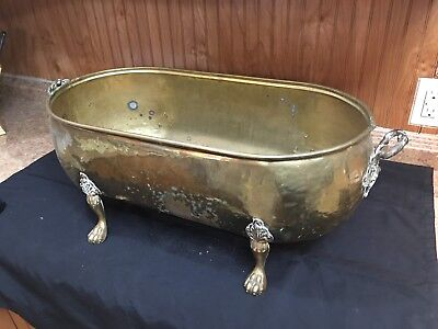 Vintage Brass Claw Footed Window Planter Pot Window Box Oval X Large