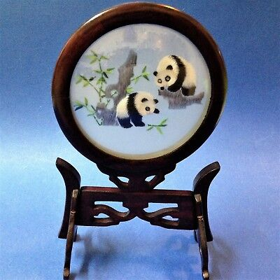 Oriental Silk Embroidered Pandas in Double Sided Convex Glass & Rosewood Frame