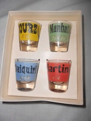 Vtg Federal Glassware Set 4 Shot Glasses Rumpus Set Orig Box Martini Daiquiri