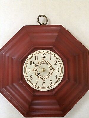 Rare Vintage Tell City antique red wall clock excellent