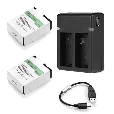 AHDBT-301 201 Battery Pack + USB Dual Charger For GoPro HD Hero3 3+ Black/Silver