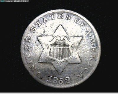 1852 Silver Trime 3 Cent Silver Nickel #9911