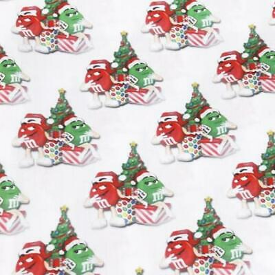 Fabric M&m Chocolate Christmas Print Polycotton Blend 50 X 145 Cm/20 X 58 In
