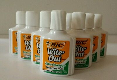 10 Bic Wite-Out Extra Coverage Quick Dry Correction Fluid White 20ml Bottles