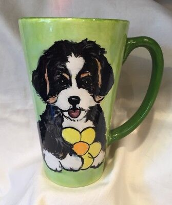 Bernese Mountain Dog Puppy  Hand Painted Kiln Fired Ceramic Latte Cup By Darci