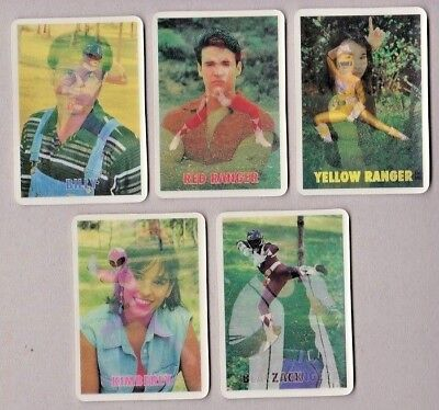 1995 POWER RANGERS Lenticular Cards 3-D Motion SET of 5