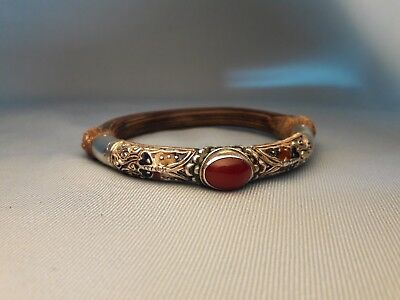 Antique Chinese Carved Wood Bamboo Silver Gem Bangle Bracelet Butterfly Enamel