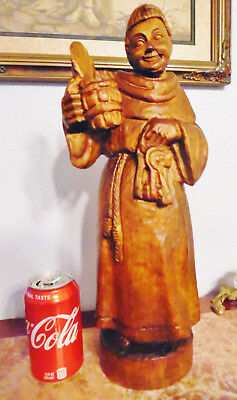 Large German Wood Carving Figurine Monk Statue Holding Beer Stein