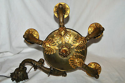 Antique French  Empire Sconce Gold Plated Bronze Lights Candle Combination RARE!