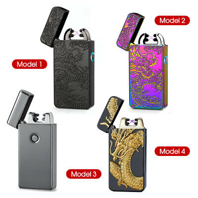 Windproof Lighter Electric USB Rechargeable Double Arc Flameless Plasma Rainbow
