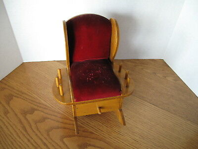 Vintage Pin Cushion / Wooden Sewing Accessory Storage Rocking Chair