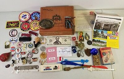 Estate Sale Junk Drawer Collectables in Wood Cigar Box
