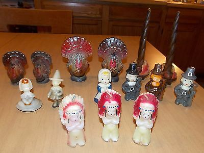 Big Lot of Vintage Gurley Thanksgiving Candles Turkey Pilgrim Indian