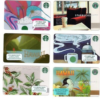 Lot of 6 different STARBUCKS Gift Cards incl Australian & Hawaii - no cash value