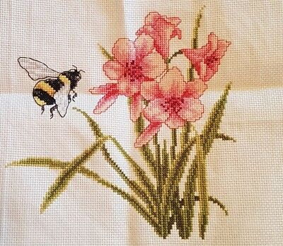 Hand made 'Beautiful bee and flower' completed cross stitch