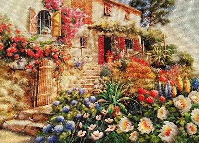 Hand made 'Summer garden' completed cross stitch 52 x 42cm