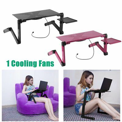Portable Adjustable Laptop Notebook Desk Table Cooling Fan Mouse holder Bed EQ