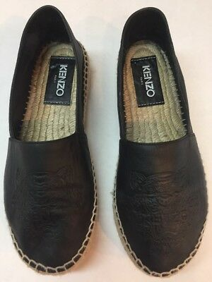 5c80e9dc229 KENZO BLACK LEATHER Tiger Embossed Espadrilles Size 38/7 - $94.66 ...