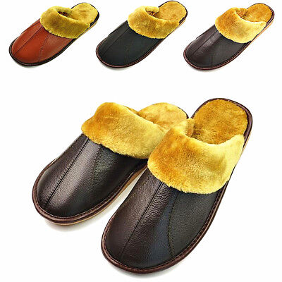 Winter Men's Women Leather Warm Indoor Slippers Home House Mules Anti-slip Shoes