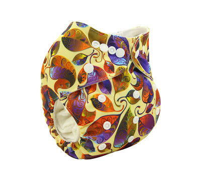 New Reusable Modern Cloth Nappy (MCN) + FREE insert – Colourful Leaf Pattern