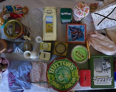 Bulk Lot Vintage Items Including tins, vases, crystal, handbags etc.