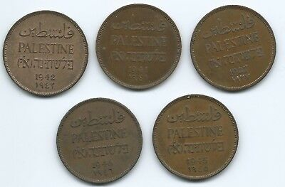 PALESTINE - 2 Mils LOT of FIVE different dates 1927-1946. Some nice grades.