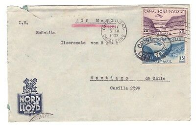"Panama-Kanalzone: Brief vom deutschem Dampfer ""Alda"" nach Chile, 1933"