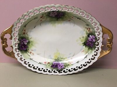 Antique SCHONWALD Porcelain Factory Oval Hand Painted Bowl W/Articulated Rim!
