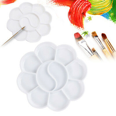 3pcs 8 Cells Plum Blossom Paint Tray Artist Oil Watercolor White Plastic Palette