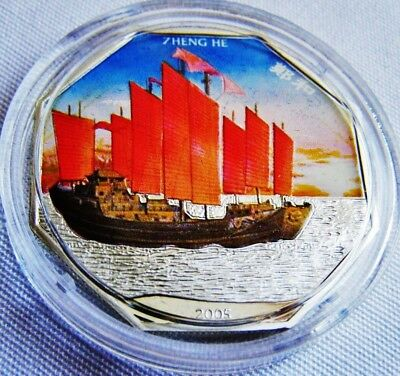 Chinese History 2005 Admiral ' ZHENG HE ' Chinese Navy Fleet Silver Proof Coin