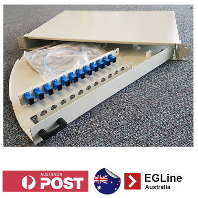 12 Way Fibre Optic Patch Panel - 1RU / Swing-out / SC Type