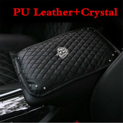 1X Bling Diamond Rhinestone Black Leather Armrest Box Rail Pad Mat Car Accessory
