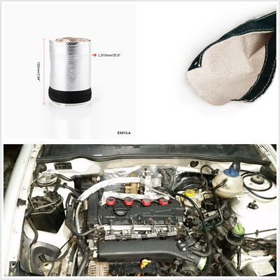 Car Auto Metallic Heat Shield Thermal Sleeve Insulated Wire Hose Cover 91x10cm